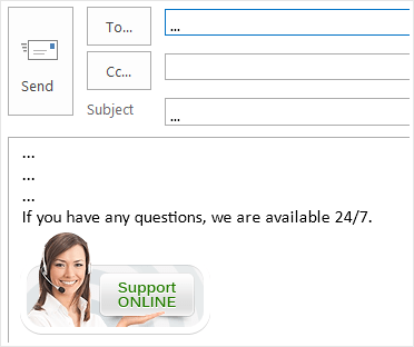 Email signature with live chat button in Outlook 2016