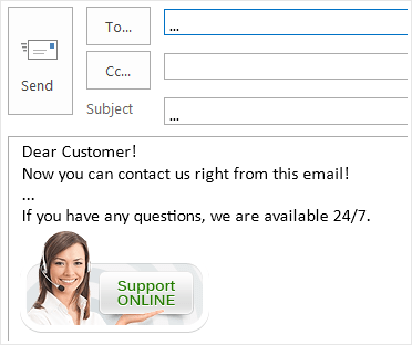 How the chat button looks in Outlook signature block