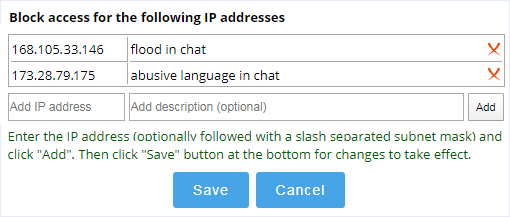 Chat access limitation by IP address